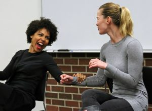 Amirah Vann, FCLC '02, and Betty Gilpin, FCLC '08, laugh about their audition experiences.