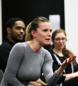Betty Gilpin, FCLC '08, tells seniors about her audition experiences. Photo by Bruce Gilbert