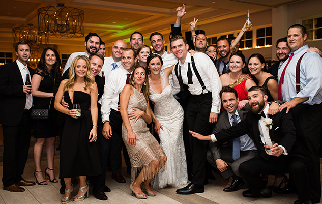 The newlywed Bradys celebrate with their Fordham friends. Photo by Alice + Chris Photography