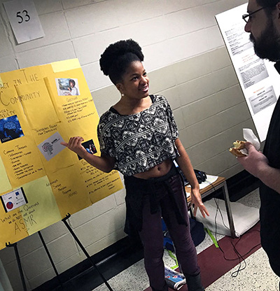 Aja Singletary, a senior theater and sociology double major, investigated the relatively uncharted world of autonomous sensory meridian response. (Photo by Joanna Mercuri)