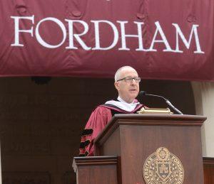 David J. Skorton speaking at Fordham's 2016 Commencement