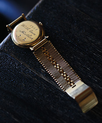 The gold watch Bornstein's mother gave him as a gift. (Photo by B.A. Van Sise)