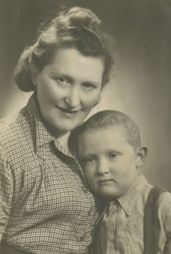 Sophie Bornstein and her son Michael reunited after the war.