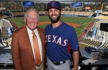 Dodgers broadcaster Vin Scully meets with Texas Rangers pitcher Nick Martinez, a fellow Fordham graduate