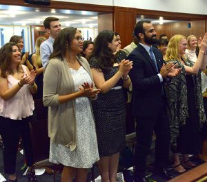 Students gave their instructors a standing ovation at the ceremony.