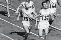 Fordham graduate Tom Courtney crosses the finish line, winning the gold medal in the 800-meter race at the 1956 Olympics.