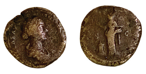 Coin of Lucilla Struck under Lucius Verus, ca. 164 to 183, C.E., Roman Bronze, d: 1¼ in. (3.1 cm), from the Fordham Museum of Greek, Etruscan, and Roman Art