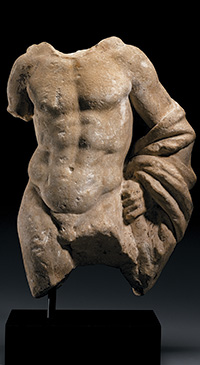 Torso of Herakles, Roman, Imperial, ca. 1st to 2nd century C.E., Marble, h: 15¼ in. (38.7 cm), from the Fordham Museum of Greek, Etruscan, and Roman Art