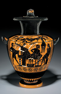 Hydria (water jar), Greek, Attic, Late Archaic, black-figure, ca. 520 to 510 B.C.E., terracotta, h: 19 in. (48.2 cm), from the Fordham Museum of Greek, Etruscan, and Roman Art