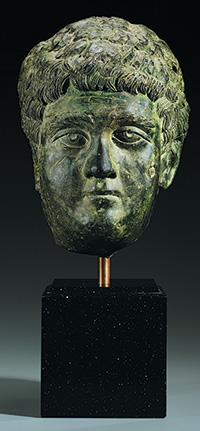 Portrait of the Emperor Caracalla as a youth, Roman, Severan, 198 to 204 C.E., Bronze, h: 11½ in. (27 cm), from the Fordham Museum of Greek, Etruscan, and Roman Art
