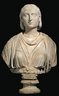 Portrait of a Severan woman, Roman, Severan, ca. 220 to 222 C.E., Marble, h: 21 7/8 in. (55.4 cm), from the Fordham Museum of Greek, Etruscan, and Roman Art