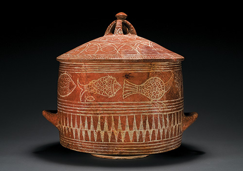 Cylindrical krater (wide mouth vessel) and lid, Etruscan, Archaic, white-on-red ware, ca. 650 B.C.E., Terracotta, impasto, h: 21 in. (53.3 cm), from the Fordham Museum of Greek, Etruscan, and Roman Art