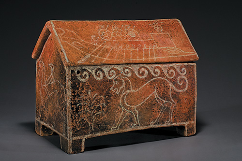 Ossuary and lid, Etruscan, Archaic, white-on-red ware, ca. 580 B.C.E., Terracotta, impasto, h: 16 in. (40.6 cm), from the Fordham Museum of Greek, Etruscan, and Roman Art