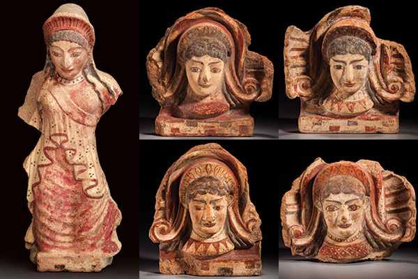Antefixes in the form of a kneeling kore (maiden) and of women's heads, Etruscan, Late Archaic to Early Classical, ca. 500 to 480 B.C.E., Terracotta, h: 11 in. to 20½ in. (28 cm to 52 cm), from the Fordham Museum of Greek, Etruscan, and Roman Art