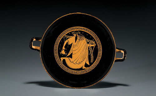 Kylix (drinking cup with stem), Greek, Attic, Late Archaic, red-figure, ca. 520 to 510 B.C.E., attributed to the Painter of Berlin 2268, Terracotta, d: 10½ in. (26.7 cm), from the Fordham Museum of Greek, Etruscan, and Roman Art