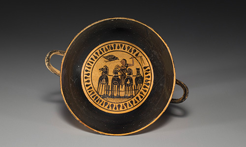 Kylix (drinking cup with stem), Etruscan, Archaic, black-figure, ca. 530 B.C.E., Terracotta, d: 41/8 in. (10.5 cm), from the Fordham Museum of Greek, Etruscan, and Roman Art