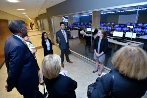 Students took guests on tours of the building. Photo by Dana Maxson