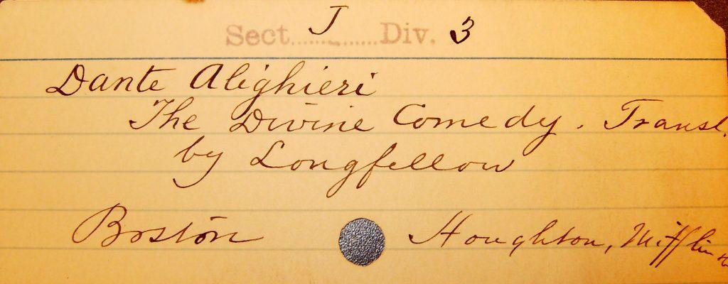 An original card from St. John's catalogue.
