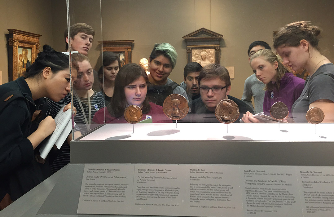 These students took Maria Ruvoldt's class taught entirely at the Metropolitan Museum of Art. First offered last fall, it returns this year. (Photo courtesy of Maria Ruvoldt.)