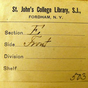 "The Quinn library has its roots in St. John's College Library, in ""Fordham, N.Y."""