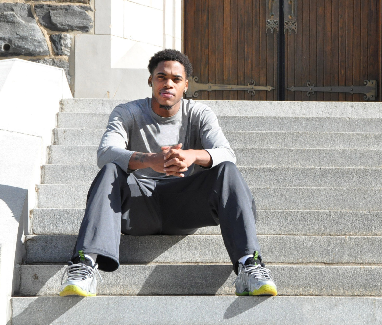 Hawkins outside his home court, the Rose Hill Gymnasium Photo by Mary Awad