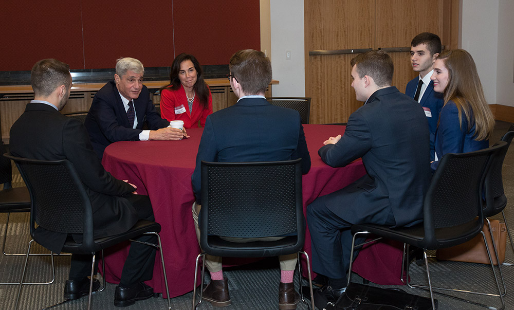 Rubin meeting with students before the event
