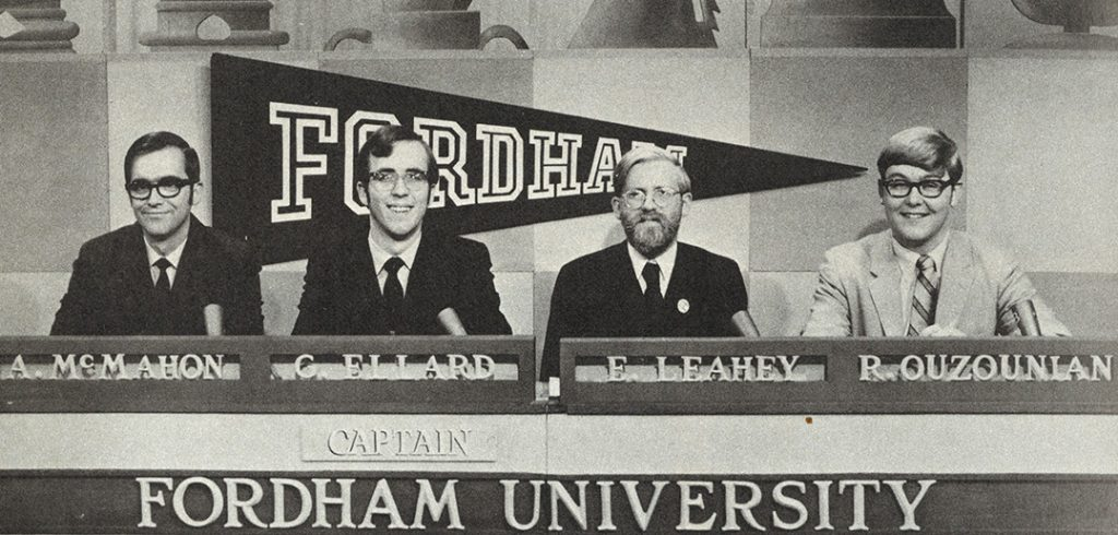 In 1968, four Fordham undergraduates—Arthur F. McMahon, George Ellard, Edward B. Leahey Jr., and Richard Ouzounian—won $20,000 in scholarship money on the College Bowl TV quiz show.
