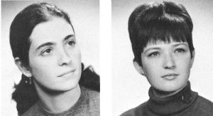 From left: Judith Aissen and Mary Daly were alternates on Fordham's 1968 College Bowl team.