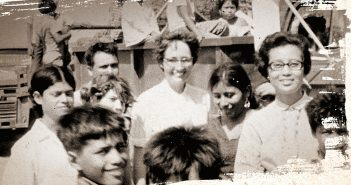 A portion of the cover of the book A Radical Faith: The Assassination of Sister Maura, written by Eileen Markey, shows a picture of Catholic nun Maura Clarke surrounded by several people