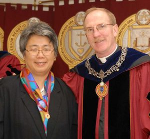 Lichtmann with Joseph M. McShane, S.J., president of Fordham, after receiving her Archbishop Hughes Medal at the 2008 University Convocation.