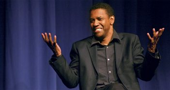 Denzel Washington speaks with Fordham students in Pope Auditorium on the Lincoln Center campus, October 2012.