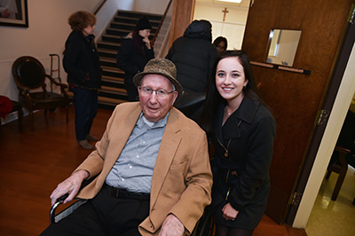 Joseph A. O'Hare, S.J., president emeritus of Fordham University, attended the concert with Fordham freshman Jacqueline Tobin.