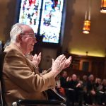 Joseph A. O'Hare, S.J., president emeritus of Fordham University, enjoys the 2016 Christmas Festival of Lessons and Carols.