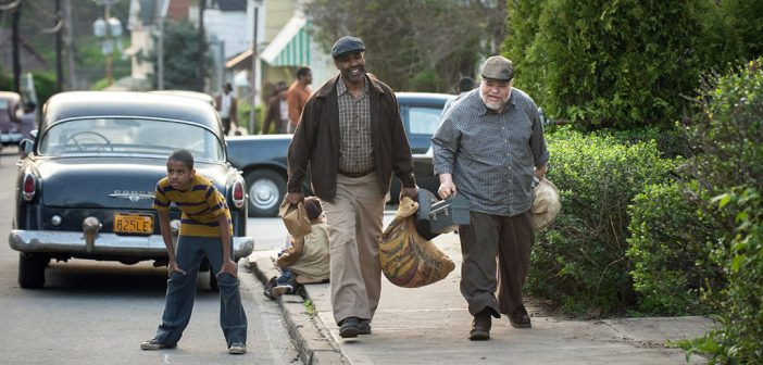 Fordham alumnus Denzel Washington and Stephen McKinley Henderson in a scene from the Oscar-nominated movie Fences.