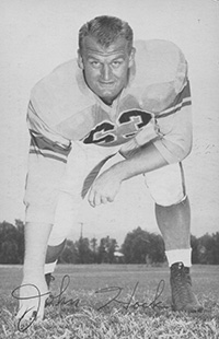 An autographed photo of John Hock of the Los Angeles Rams, 1957