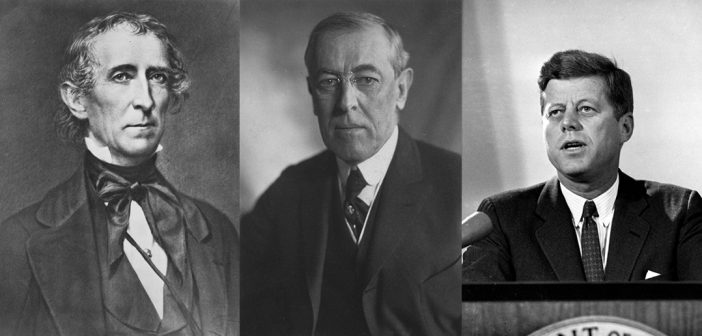 Presidents Tyler, Wilson, and Kennedy