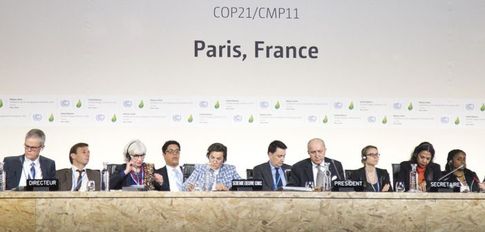 Attendees seated at the 2015 United Nations Climate Change Conference in Paris