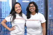 (L-R) Student ambassadors Caitlin Sakdalan, FCLC '17, and Emily Lindo, GABELLI '18.