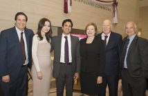 Fordham Law Dean Matthew Diller with Susheel Kirpalani LAW '94 (third from left) and his spouse, Yulia Fomenko (second from left), and Quinn Emanuel Urquhart & Sullivan named partners Kathleen Sullivan and Bill Urquhart LAW '78 and partner Peter Calamari LAW '73 at the dedication of the Kirpalani Commons on March 29, 2017