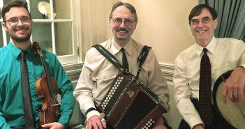 """From left: Musicians Michael Winch, Terence Winch, and Jesse Winch, in the cover photo from their album """"This Day Too: Music From Irish America"""""""