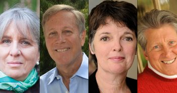 Head shots of Mary Gordon, Dana Gioia, Alice McDermott and Ron Hansen