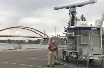 J. Alan Clark, Ph.D., an associate professor in the Department of Biological Sciences, stands alongside an avian radar near the Hastings Bridge in Hastings, MN on April 24, 2017.
