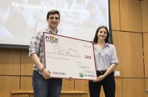 The grand prize of $4,500 was awarded to Pathos creator Anthony Parente, GABELLI '19, and his teammates Shelda Zajmi, FCRH '19, Ryan Zablocki, GABELLI '17, and Samuel Knoche FCRH '20; they were also awarded the People's Choice prize of $500.