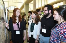 "Psychology student Laura Frank, and biology students Olivia Giannakopoulos and Ian Villagran share findings from their research project, ""The Effect of Drey Presence on Flight Initiation Distance in the Eastern Gray Squirrel (Sciurus carolinensis) in New York City"" at the 2017 Undergraduate Research Symposium on April 26 at the Rose Hill campus."
