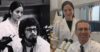 Then and Now (from left): Gloria Coruzzi and Christopher Proto pose for a 1976 yearbook photo in a Fordham lab. Four decades later, they recreated the moment in Coruzzi's lab at NYU, where Proto teaches part time at the dental school.