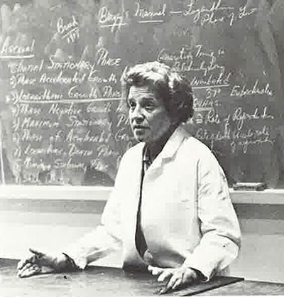 Biology professor E. Ruth Witkus in a Fordham classroom, circa 1974
