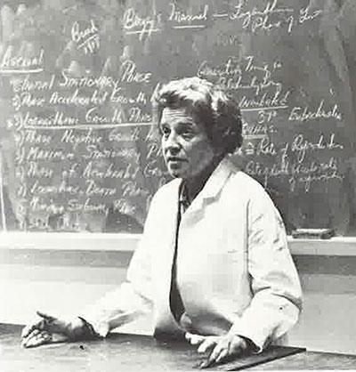 Biology professor E. Ruth Witkus in a Fordham classroom, circa 1974