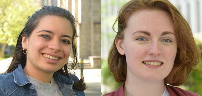 (L-R) Social justice leaders Chloe Potsklan, GABELLI '17, and Alexa McMenamin, FCLC '17.