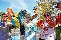 Fordham hosted a Color Run at the Rose Hill campus on April 28. Photo by Bruce Gilbert