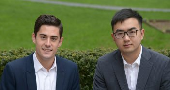 (L-R) Joe Halpin, GABELLI '17 and Tongqing Zhang, GABELLI '17.